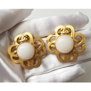 Chanel Gold-Tone and Simulated Glass Pearl CC Vintage Earrings