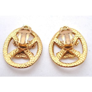 CHANEL Clip-On Earrings Gold Plated CC Box