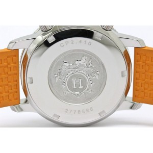 Hermes Clipper Diver CP2.410 Stainless Steel / Rubber with Silver Dial 36mm Unisex Watch