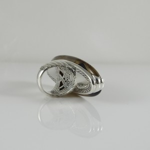 John Hardy Sterling Silver with Wood Bedeg Ring Size 7