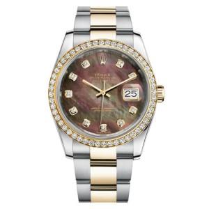 Rolex Datejust Two Tone Custom Diamond Bezel & Black Mother of Pearl Diamond Dial Oyster Bracelet Watch