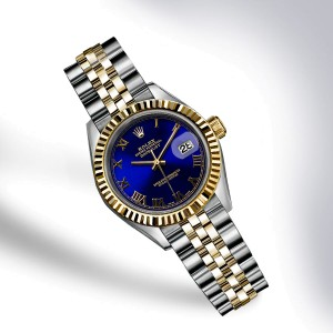 Rolex Datejust Stainless Steel and 18K Yellow Gold with Royal Blue Dial 36mm Mens Watch