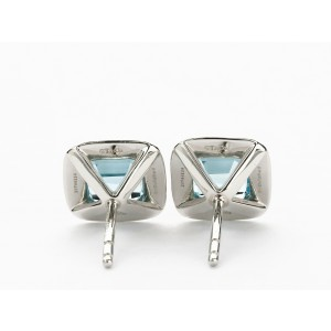 Tiffany & Co. Legacy Platinum Aquamarine Diamond Stud Earrings