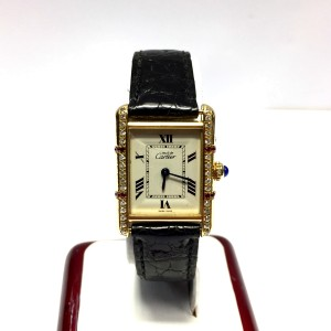 Cartier Must de Cartier Tank Vermeil 18K Yellow Gold Plated Sterling Silver Leather Diamond & Ruby 22.50mm Watch