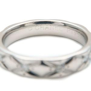 CHANEL 10P Diamond Platinum Matelasse Ring