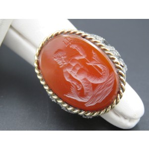 Tiffany & Co. 14K Yellow Gold & Sterling Silver with Diamond & Carnelian Intaglio Titan Ring Size 5.5