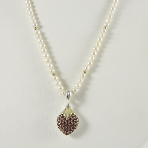 Lagos Sterling Silver 18K Yellow Gold Arcadian Ruby Puffed Heart on Pearl Toggle Necklace