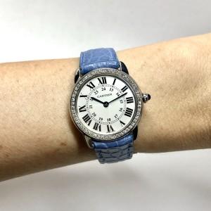 CARTIER RONDE SOLO 29mm Quartz Steel Diamond Bezel Ladies Watch