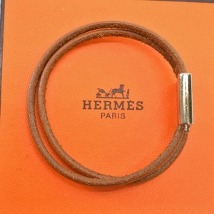 Hermes Silver Tone Metal Leather H Letter Bracelet