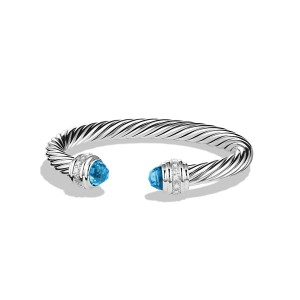 David Yurman Cable Classics Bracelet with Blue Topaz and Diamonds 7mm