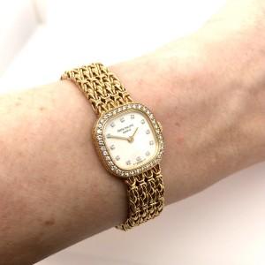 PATEK PHILIPPE 18K Yellow Gold Factory Diamond Watch MOP Dial