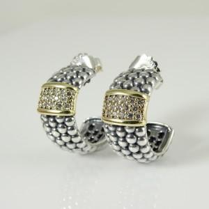 Lagos Caviar Medium Beaded Hoop Earrings Sterling Silver 18K Yellow Gold .68tcw Diamonds