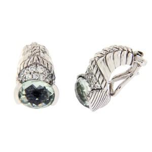 Judith Ripka 925 Sterling Silver Green Quartz & Diamonique Earrings