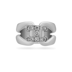 Hermes 18K White Gold Diamond H Ring Size 6