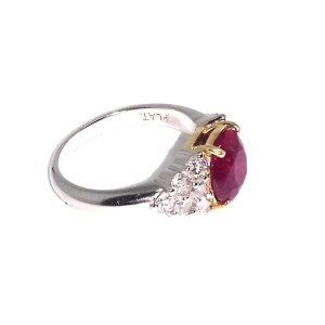 18K White Gold 3.05ct Ruby & 0.75 ct Diamond Ring Size 7.5