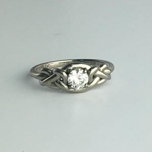 Solitaire Palladium 0.46ct Diamond Engagement Ring Size 7