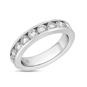 Platinum 1.95ct. Diamond Channel Set Wedding Band Size 6.5