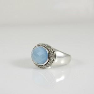 David Yurman Sterling Silver .36tcw 14x10mm E/W Blue Topaz Doublet Diamond Solid Shank Ring