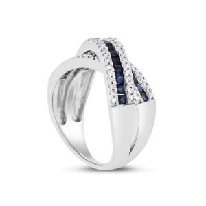 14k White Gold 1.95ct. Diamond & Sapphire Crossover Bypass Ring Size 7.25