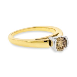 14k Yellow Gold 0.51ct. Champagne Diamond Solitaire Engagement Cathedral Ring Size 5.5