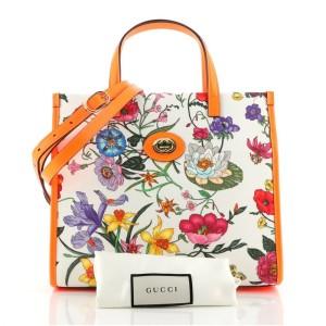 Gucci Convertible Open Tote Flora Canvas Small