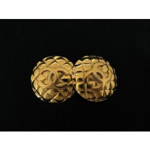 Chanel Gold Plated Quilted CC Earrings