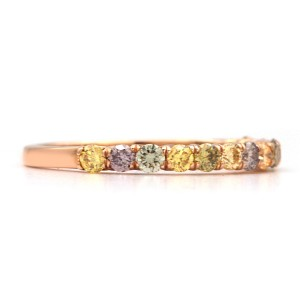 18K Rose Gold 0.59ctw Round Multicolored Diamonds Ring Size 6