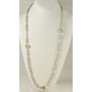 "David Yurman Sterling Silver 18K Yellow Gold 36"" Four Cushion Figaro Chain Necklace"