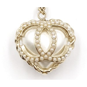 Chanel Gold-Tone Metal & Simulated Glass Pearl Heart Necklace