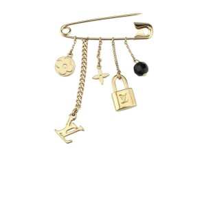 Louis Vuitton Yellow Gold Plated Charm Safety Pin Brooch