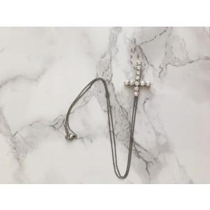 Tiffany & Co. Platinum Diamond Large Cross Pendant Necklace