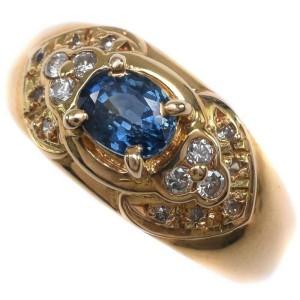 18k yellow gold/sapphire/diamond Ring