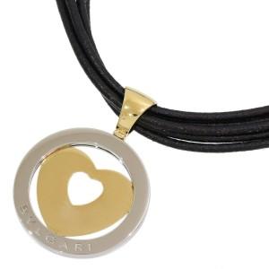 Bvlgari 18K Yellow Gold Tondo Heart 5 Low Leather Necklace Choker