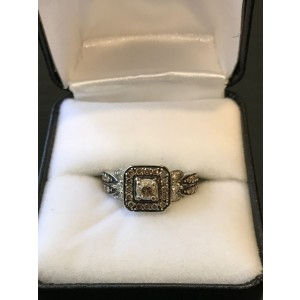 LeVian 14K White Gold with 0.87ct. Chocolate Diamond Ring Size 6.5