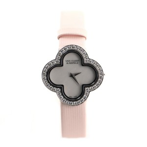 Van Cleef & Arpels Alhambra Quartz Watch White Gold and Satin with Diamond Bezel and Mother of Pearl 26
