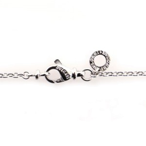 Bvlgari Signature Bar Pendant 18K White Gold and Diamond Necklace