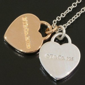 Tiffany 925 Silver & 18k Rose Gold Double Heart Necklace