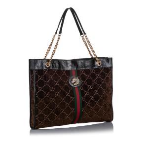 Large GG Velvet Rajah Tote Bag