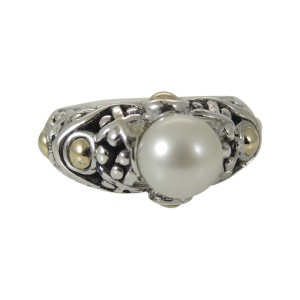John Hardy Sterling Silver & 18K Yellow Gold Jaisalmer Pearl Ring Size 5