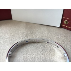 Cartier Love White Gold 10 Gemstone Bracelet Size 16