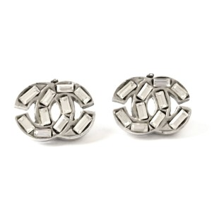 Chanel Silver-Tone Crystal CC Classic Earrings