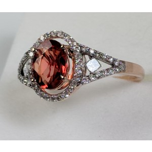 14K Rose Gold with 0.87ct Orange Sapphire and Diamond Ring Size 7.5