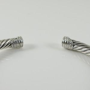 David Yurman X 18K White Gold 925 Sterling Silver .25tcw Diamond Bracelet