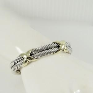 David Yurman Sterling Silver 14K Yellow Gold XX Bangle Bracelet