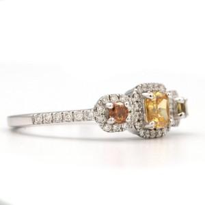 18K White Gold Ring 3 Stone Multi Colored Diamonds Size 6.25