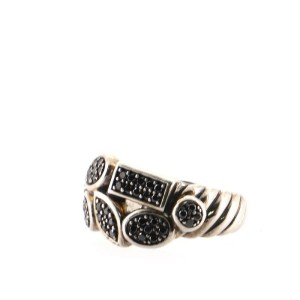 David Yurman Two Row Confetti Cable Ring Sterling Silver with Black Diamonds 7