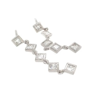 Fab Drops 14k White Gold Princess Cut Diamond Drop Earrings
