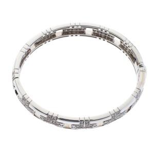 BVLGARI White Parentesi 18k Gold 1.90ct Diamond Bangle Bracelet