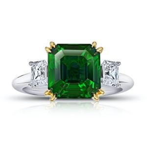 Platinum 18K Yellow Gold 5.07ctw. Tsavorite 1.13ctw. Diamond Ring Size 7