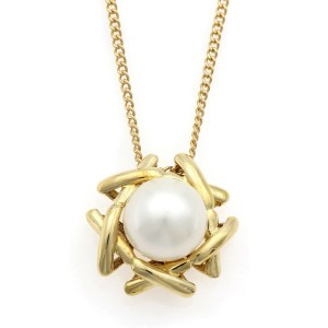 TIFFANY & Co. 18K Yellow Gold Pearl Necklace CHAT-930